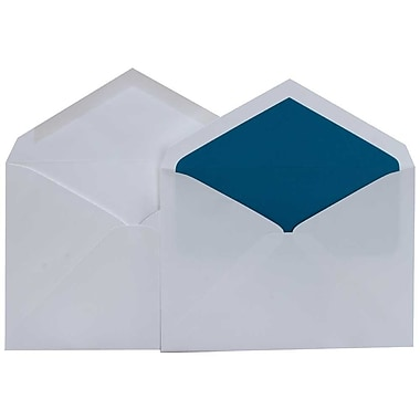 JAM Paper® Lined Wedding Envelope Set, 5.75 x 8, White with Peacock Blue Lined Envelopes, 50/Pack (526SE4018)