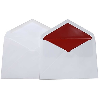 JAM Paper® Lined Wedding Envelope Set, 5.75 x 8, White with Red Lined Envelopes, 100/Pack (526SE6050)