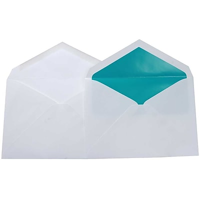 JAM Paper® Lined Wedding Envelope Set, 5.75 x 8, White with Aqua Blue Lined Envelopes, 100/pack (526SE6590)