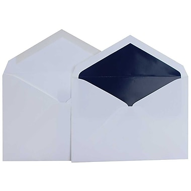 JAM Paper® Lined Wedding Envelope Set, 5.75 x 8, White with Navy Blue Lined Envelopes, 50/Pack (526SE6078)