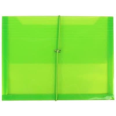 JAM Paper® Plastic Envelopes with 2 5/8 Expansion, Elastic Closure, Letter Booklet, 9.75 x 13, Lime Green Poly, 1/pk (218E25LI)