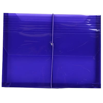 JAM Paper® Plastic Envelopes with 2 5/8 Expansion, Elastic Closure, Letter Booklet, 9.75 x 13, Purple Poly, 1/pack (218E25PU)