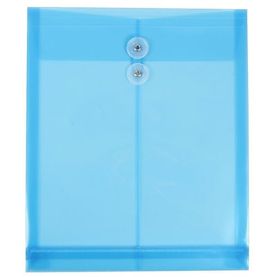 JAM Paper® Plastic Envelopes with Button and String Tie Closure, Letter Open End, 9.75 x 11.75, Blue Poly, 12/pack (118B1BU)