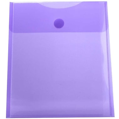JAM Paper® Plastic Envelopes with VELCRO® Brand Closure, 1 Expansion, 9.75 x 11.5, Violet Purple, 24/pack (235827602g)