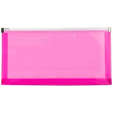 JamMD – Enveloppes de plastique format livret avec fermeture à glissière, 5 x 10 po, fuchsia