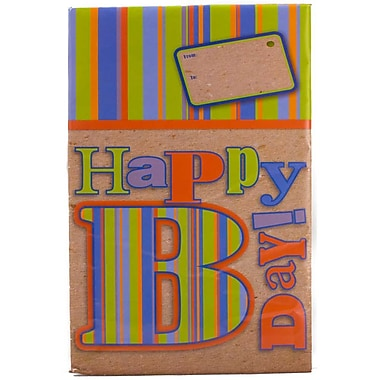 JAM Paper® Holiday Bubble Mailers, Large, 10.5 x 16, Happy Birthday Stripes, 6/Pack (SS20LDM)