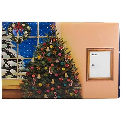 JAM Paper® Holiday Bubble Mailers, Large, 10.5 x 16, Christmas Tree at Window, 6/pack (SS38LDM)
