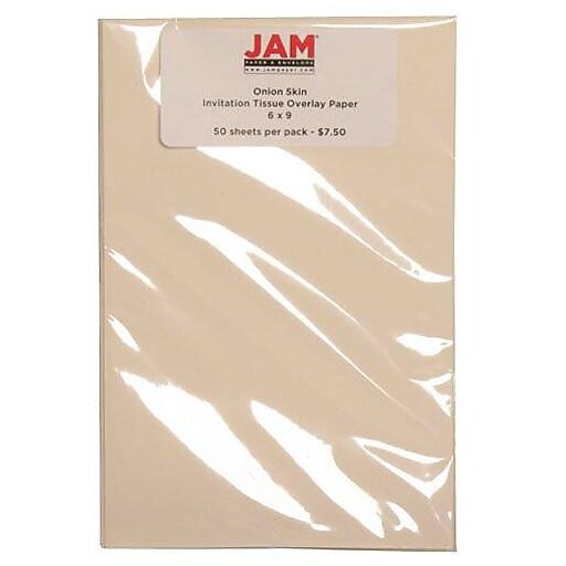 "JAM Paper® Tissue Overlay Paper - 6"" x 9"" - Onion Skin Invitation - 50/pack"