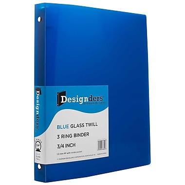 JAM Paper® Plastic 3 Ring Binder, 0.75 inch, Blue, Sold Individually (750T1BU)