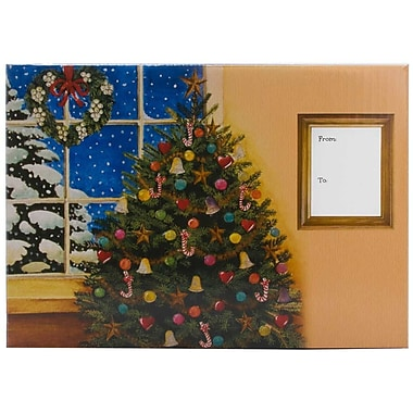 JAM Paper® Mailing Gift Box With Safety Lock, Medium, 8.75 x 5.5 x 12.25, Christmas Tree, 6/Pack (SS45MDB)