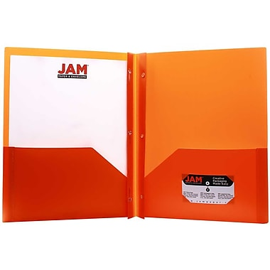 JAM Paper® Plastic Eco Two Pocket Clasp School Folders with Prong Clip Fasteners, Orange, 12/Pack (382ECorg)