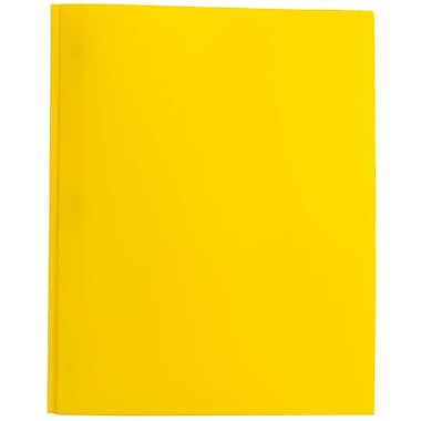 JAM Paper® Plastic Eco Two Pocket Clasp School Folders with Prong Clip Fasteners, Yellow, 12/Pack (382ECYEg)