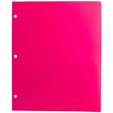 JAM Paper® Plastic Heavy Duty 3 Hole Punched Two Pocket School Folder, Fuchsia, 2 packs of 6 (383HHPfug)