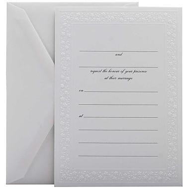 JamMD – Ensemble d'invitations de mariage à remplir avec 25 cartes et enveloppes, blanc avec bordure fleurie