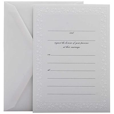JAM Paper® Fill-in Wedding Invitation Set, White Flowered Border, 25/pack (354628217)