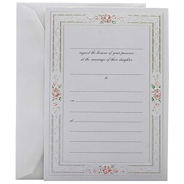 JAM Paper® Fill-in Wedding Invitation Set, Pink Rose with Metallic Border, 25/Pack (354628215)