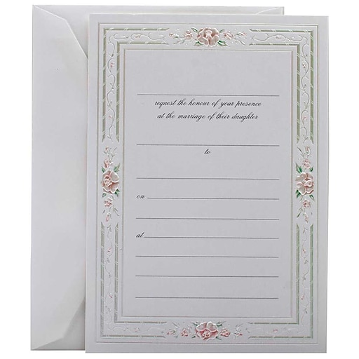 Printing Wedding Invitations At Staples: JAM Paper® Fill-in Wedding Invitation Set, Pink Rose With