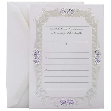 JAM Paper® Fill-in Wedding Invitation Set, Blue Rose with Metallic Border, 25/pack (354628216)