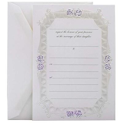 JAM Paper® Fill-in Wedding Invitation Set, Blue Rose with Metallic Border, 25/pack (354628216)