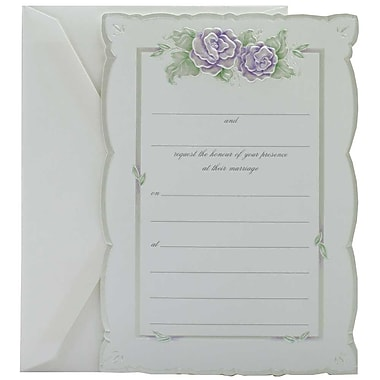 JAM Paper® Fill-in Wedding Invitation Set, Purple Rose with Metallic Border, 25/Pack (354628212)