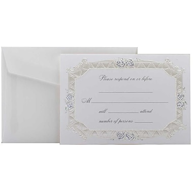 JAM Paper® Fill-in Wedding Reply Card Set, Blue Rose with Metallic Border, 2 packs of 25 (354628219g)