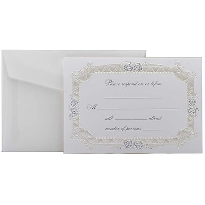 JAM Paper® Fill-in Wedding Reply Card Set, Blue Rose with Metallic Border, 25/pack (354628219)