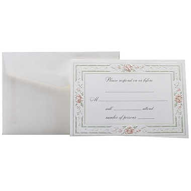 JAM Paper® Fill-in Wedding Reply Card Set, Pink Rose with Metallic Border, 2 packs of 25 (354628218g)