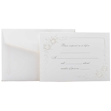 JAM Paper® Fill-in Wedding Reply Card Set, Shiny Flowered Border, 2 packs of 25 (354628222g)