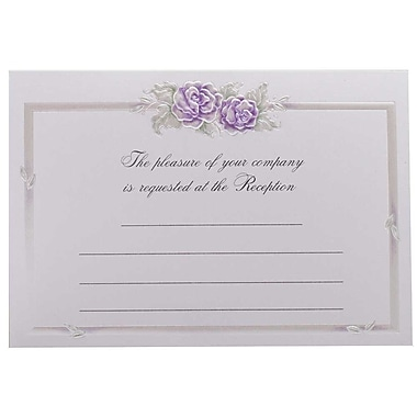 JAM Paper® Fill-in Wedding Reception Card Set, Purple Rose with Metallic Border, 2 packs of 25 (354628224g)