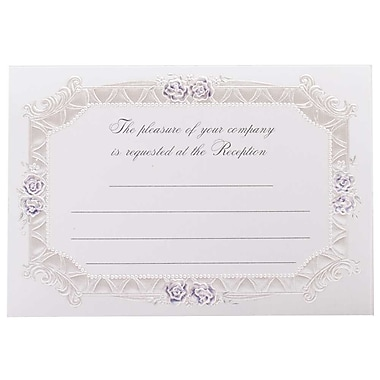 JAM Paper® Fill-in Wedding Reception Card Set, Blue Rose with Metallic Border, 2 packs of 25 (354628226g)