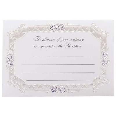 JAM Paper® Fill-in Wedding Reception Card Set, Blue Rose with Metallic Border, 25/pack (354628226)