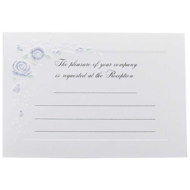 JAM Paper® Fill-in Wedding Reception Card Set, Blue Rose, 2 packs of 25 (354628225g)
