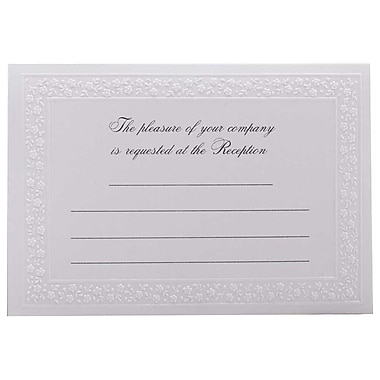 JAM Paper® Fill-in Wedding Reception Card Set, White Flower Border, 2 packs of 25 (354628228g)