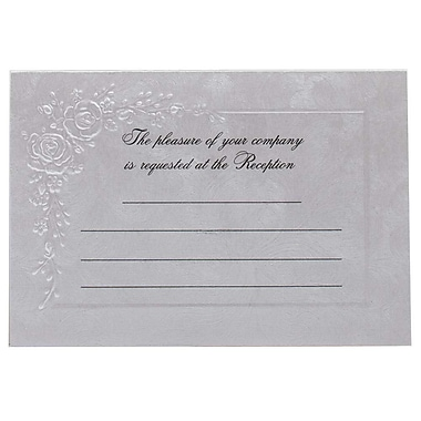 JAM Paper® Fill-in Wedding Reception Card Set, Metallic Strokes with Flowers, 2 packs of 25 (354628229g)