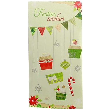 JAM Paper® Christmas Money Cards Set, Festive Wishes, 24/Pack (95227799g)