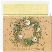 JAM Paper® Christmas Holiday Cards Set, Beach Wreath, 18/pack (5264823)