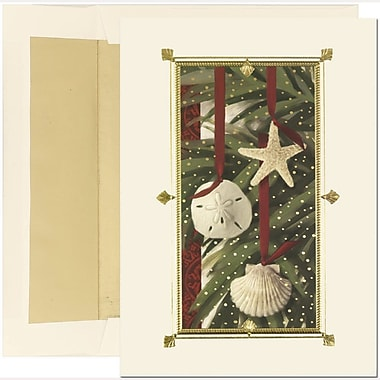 JAM Paper® Christmas Holiday Cards Set, Warm Wishes Shell Ornaments, 2 packs of 18 (526350979g)
