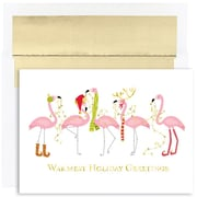 JAM Paper® Christmas Holiday Cards Set, Fashion Flamingo Warm Wishes, 18/pack (526816300)
