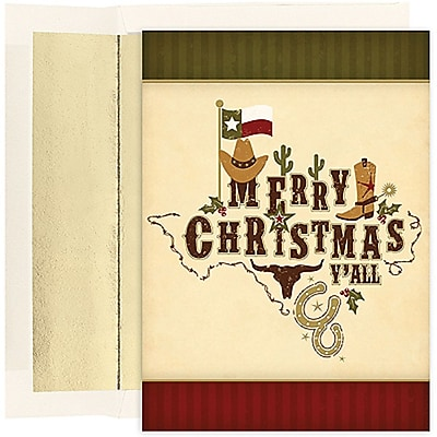 JAM Paper® Christmas Holiday Cards Set, Merry Christmas Y'all, 18/pack (526836000)