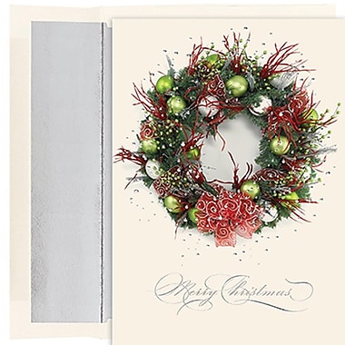 JAM Paper® Christmas Holiday Cards Set, Winter Wonderland Rustic Wreath, 16/pack (526M0740MB)