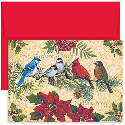 JAM Paper® Christmas Holiday Cards Set, Birds and Berries, 18/pack (526853200)