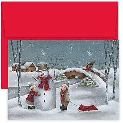 JAM Paper® Christmas Holiday Cards Set, Home for the Holidays Snowman Hug, 18/pack (526854700)