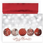JAM Paper® Christmas Holiday Cards Set, Peace and Joy Sparkling Ornaments, 16/pack (526849200)