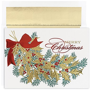 JAMMD – Ensemble de cartes de Noël Peace and Joy comprenant 16 cartes et enveloppes, « Christmas Holly »
