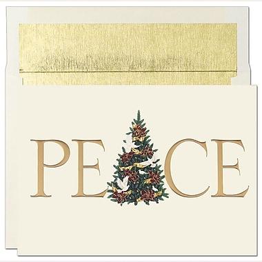 JAMMD – Ensemble de cartes de Noël Peace and Joy comprenant 16 cartes et enveloppes, « Gold Peace »