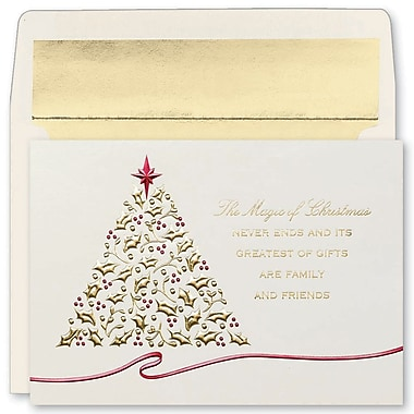 JAM Paper® Christmas Holiday Cards Set, Peace and Joy Magic Never Ends, 16/pack (52678810)