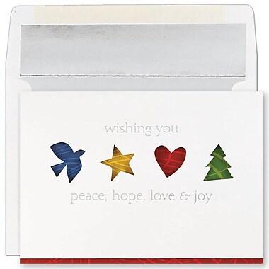 JAMMD – Ensemble de cartes de Noël Peace and Joy comprenant 16 cartes et enveloppes, « Four Holiday Icons »