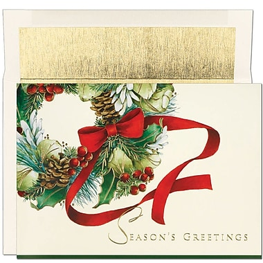 JAM Paper® Christmas Holiday Cards Set, Peace and Joy Ribbon Wreath, 16/Pack (526799600)