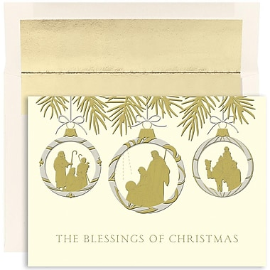 JAM Paper® Christmas Holiday Cards Set, Warmest Wishes Christmas Blessing Ornaments, 18/pack (526814300)