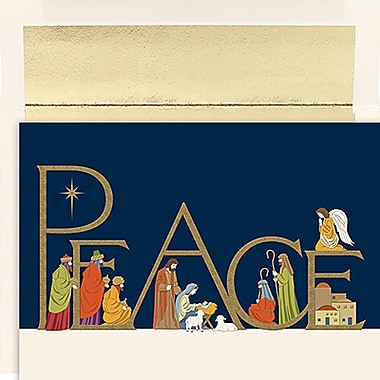 JAM Paper® Christmas Holiday Cards Set, Peace and Joy Peaceful Night, 16/Pack (526837400)